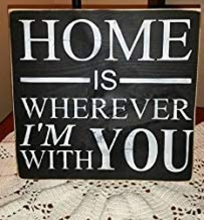 Placa de madera rústica para decoración de pared Home is Wherever I'm with You