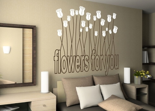Dormitorio decorado con Vinilo decorativo Flowers For You de DEKOTIPO